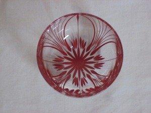 画像2: 川連漆器×江戸切子 ガラス器(大輪 赤)