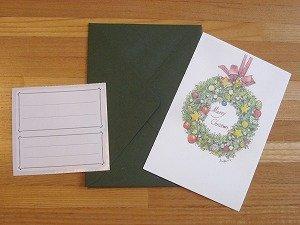 画像1: クリスマスカード『リース』封筒・緑