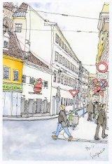 絵葉書『ウィーンの街角 サンタの飾り』