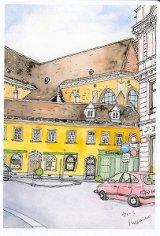 絵葉書『ウィーンの街角 黄色い建物と赤い車』