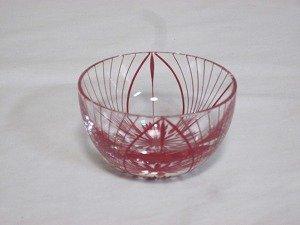 画像1: 川連漆器×江戸切子 ガラス器(大輪 赤)