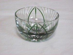 画像1: 川連漆器×江戸切子 ガラス器(大輪 緑)