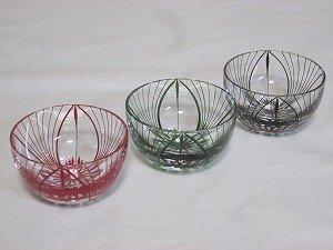 画像3: 川連漆器×江戸切子 ガラス器(大輪 緑)